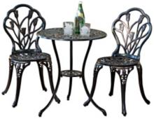 La Fleur Aged Bronze 3-Piece Outdoor Bistro Set