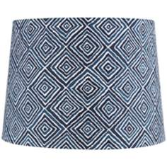 Blue and White Geometric Lamp Shade 12x14x10 (Spider)