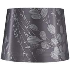 Gray with Silver Leaves Lamp Shade 11.5x14x10x9.5 (Spider)