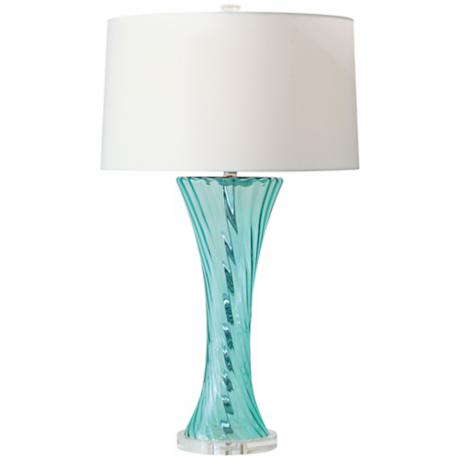 Bella Swirl Aqua Glass Table Lamp