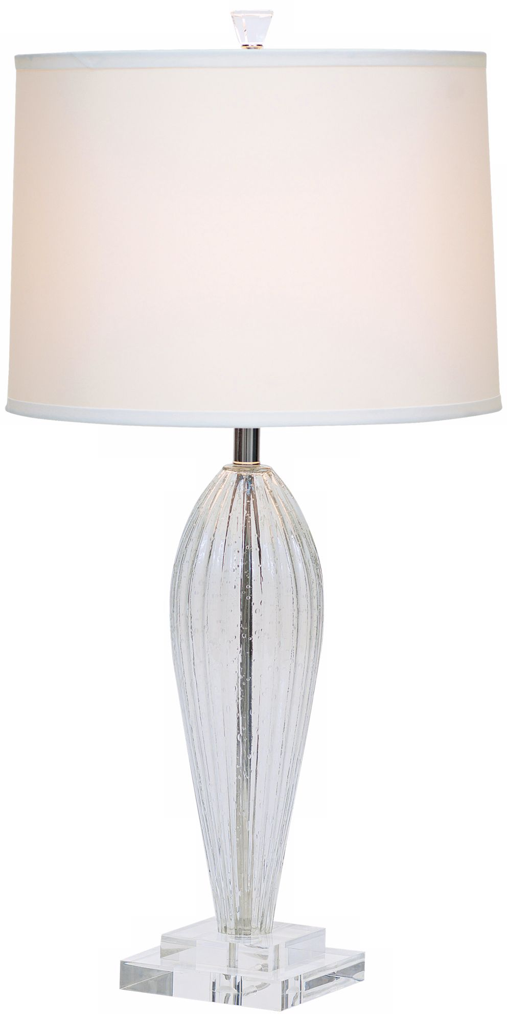 Romano Off White Shade Hand Blown Glass Table Lamp