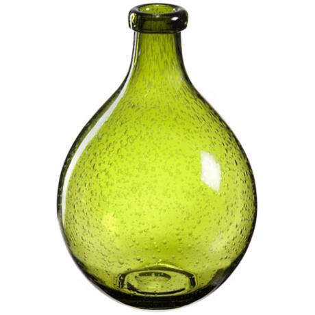 Bulle Olive Green Glass Vase