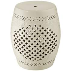 Eggshell Lattice Ceramic Garden Accent