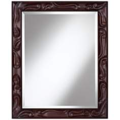 "Carved Scroll Openwork 34"" High Chocolate Brown Wall Mirror"