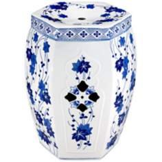 Floral Hexagon Blue and White Ceramic Accent