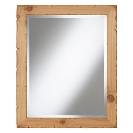 "Natural Pine Wood 28"" High Wall Mirror"