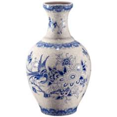 "Asian Floral 13 3/4"" High Ceramic Vase"