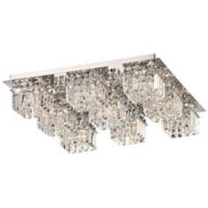"Alico Crown 22"" Wide Crystal and Chrome Ceiling Light"