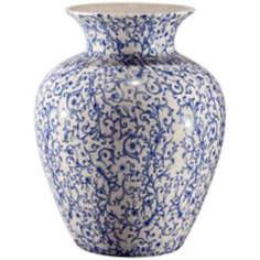 Canton Flared Blue and White Ceramic Vase