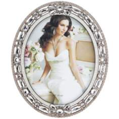 Clear Beaded Pewter 8x10 Oval Picture Frame