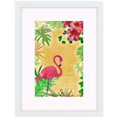 "Yellow Tropical Flamingo 17"" High Bird Wall Art"