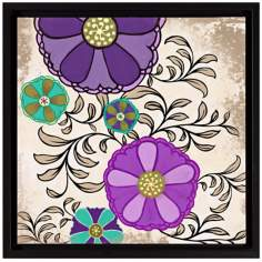 "Intricate Purple Flowers I 18 1/2"" High Floral Wall Art"