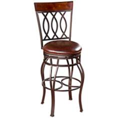 "American Heritage Bella 26"" Bourbon Leather Counter Stool"