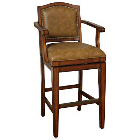 "American Heritage Martinique 30"" High Tan Leather Bar Stool"