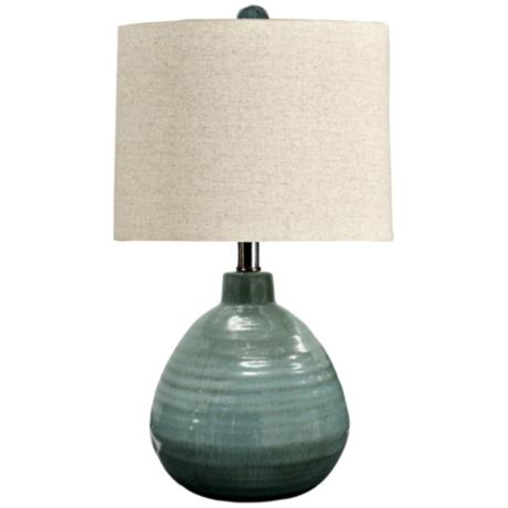 Turquoise Green Ceramic Jar Table Lamp