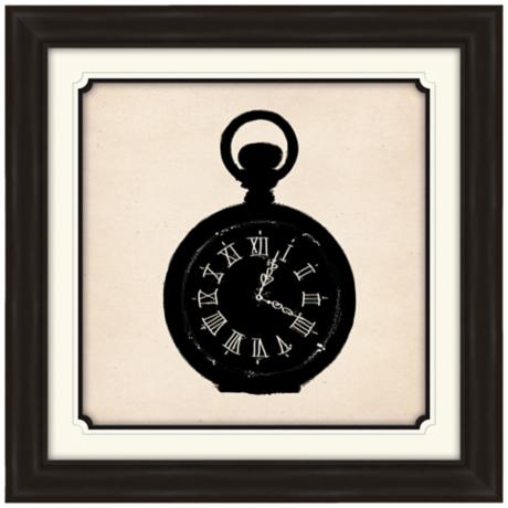 "Pocket Watch Silhouette 29"" Square Wall Art"