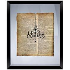 "Vintage Chandelier 22"" High Floating Framed Wall Art"