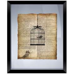 "Vintage Birdcage 22"" High Floating Picture Frame Wall Art"