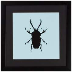 "Beetle 18"" Square Framed Silhouette Wall Art"