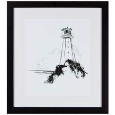 "Light House 18"" Square Framed Silhouette Wall Art"