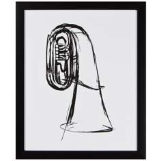 "Tuba 22"" High Framed Silhouette Wall Art"