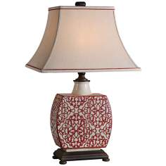 Uttermost Lindsa Ivory Red Table Lamp