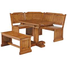 Distressed Oak Corner Nook Dining Set