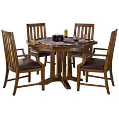 Arts and Crafts 5-Piece Oak Game Table Set