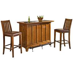 Arts and Crafts 3-Piece Distressed Oak Bar Set