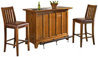 Arts and Crafts 3-Piece Distressed Oak Bar Set (X1067)