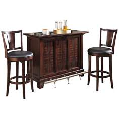 Rio Vista 3-Piece Espresso Bar Cabinet and Stool Set