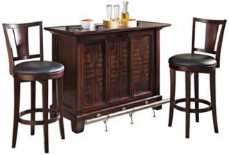 Rio Vista 3-Piece Espresso Bar Cabinet and Stool Set (X1074)