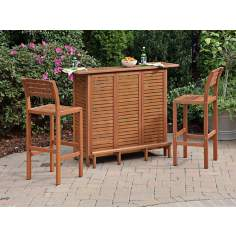 Montego Bay 3-Piece Eucalyptus Outdoor Bar Set