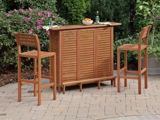 Montego Bay 3-Piece Eucalyptus Outdoor Bar Set (X1078)