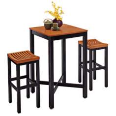 Black and Oak 3-Piece Bar Table and Stool Set