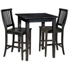 Arts and Crafts 3-Piece Black Bistro Set