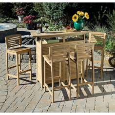 Bali Hai 5-Piece Natural Teak Outdoor Bar Set
