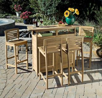 Bali Hai 5-Piece Natural Teak Outdoor Bar Set (X1119)