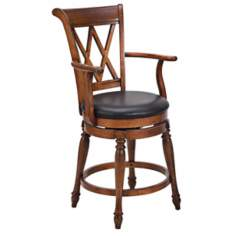 Deluxe Distressed Cottage Oak Bar Stool