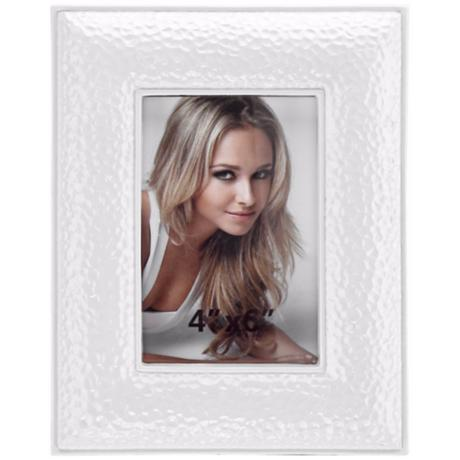 Contemporary Hammered 4x6 White Picture Frame