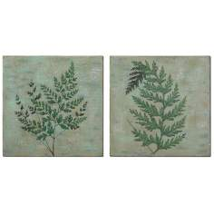 "Set of 2 Fronds 20"" Square Uttermost Leaf Wall Art"