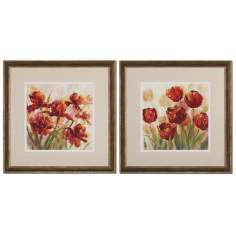 "Set of 2 Misty Garden Poppies31"" Square Uttermost Wall Art"