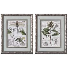 "Set of 2 Grandiflora 32"" High Uttermost Floral Wall Art"