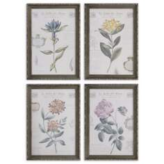 "Set of 4 Le Jardin des Fleurs 27"" High Uttermost Wall Art"