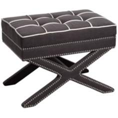 Alexei Dark Gray Ottoman with White Stitching