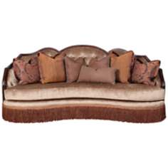 Geena Claridge Truffle Veleteen Sofa with Fringe