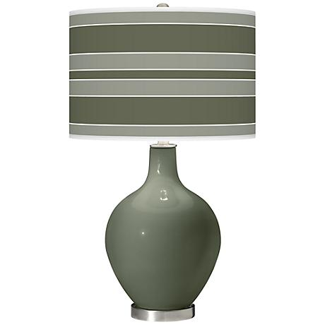 Deep Lichen Green Bold Stripe Ovo Table Lamp