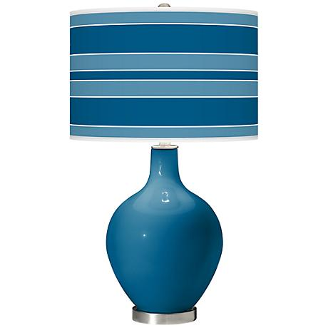 Mykonos Blue Bold Stripe Ovo Table Lamp