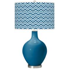 Mykonos Blue Narrow Zig Zag Ovo Table Lamp