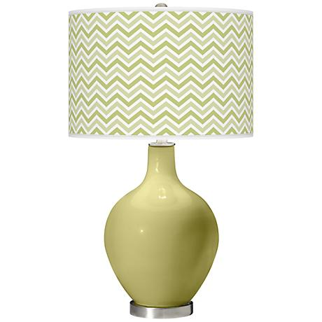 Linden Green Narrow Zig Zag Ovo Table Lamp